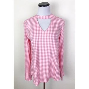NWT Maurices Gingham Plaid Button Back Top
